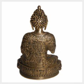 Erdender Buddha 33cm Messing Hinten