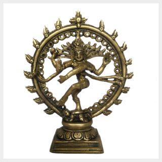 Shiva im Feuerkreis klein Messing Vorderansicht