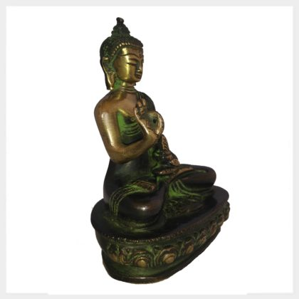 Lehrender Buddha 12cm grünantik Seitenansicht