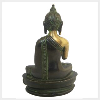 Lehrender Buddha 12cm grünantik Hinten