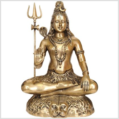 Sitzender Shiva 16kg Messing Abhaya Mudra Vorne
