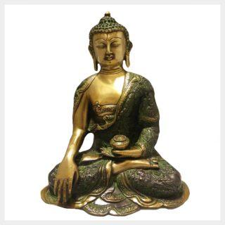 Erdender Buddha 6,1kg Grüngold Vorderansicht