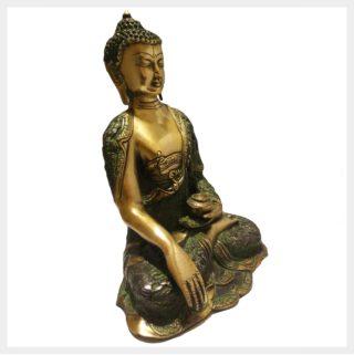 Erdender Buddha 6,1kg Grüngold Seitenansicht