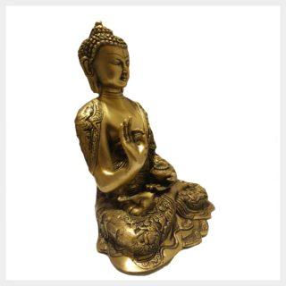 Lehrender Buddha 6,1kg Messing Seitenansicht