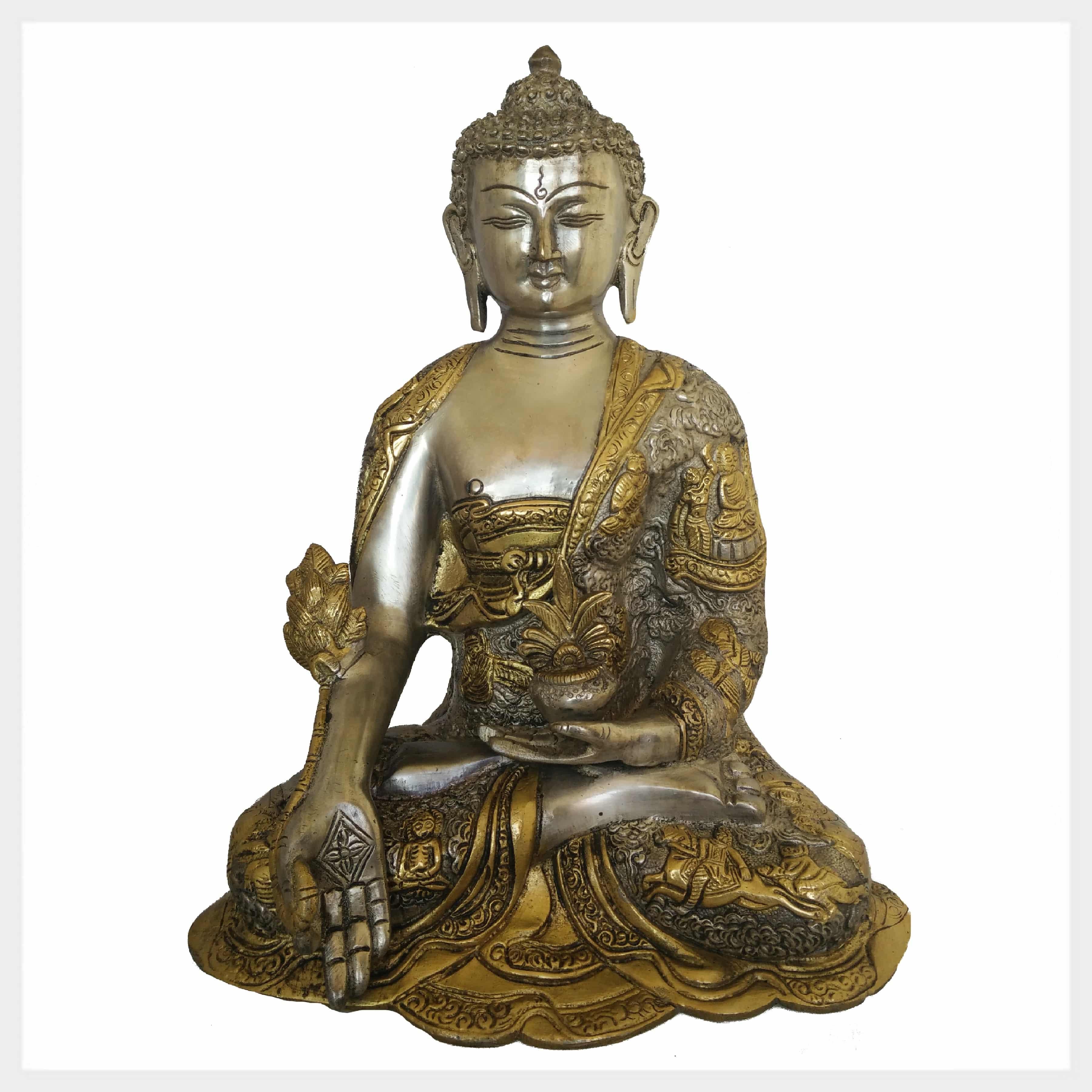 Medizinbuddha Silber Messing 29 Cm Ca 6 Kg Figur Nepal