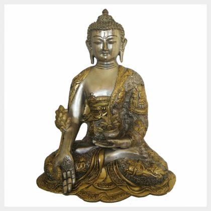 Medizinbuddha 6,1kg versilbert Vorderansicht