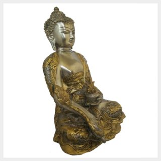 Medizinbuddha 6,1kg versilbert Seitenansicht