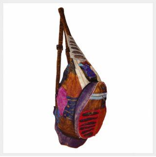 Patchwork Rucksack braunrot Seitenmodel