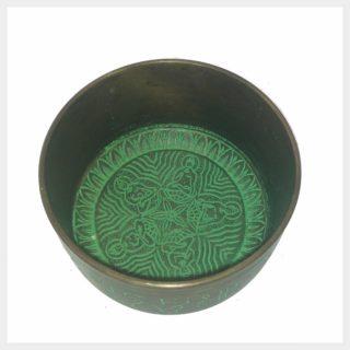 Klangschale 5 Buddhas grün innen
