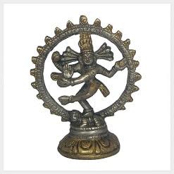 Kleiner indischer Shiva Messing Silber Vorderansicht Vorschaubild