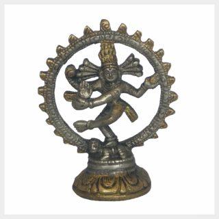 Kleiner indischer Shiva Messing Silber Vorderansicht