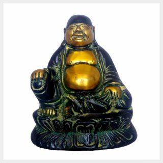 Lachender Buddha Messing gelbgrün 13,5cm Vorderansicht