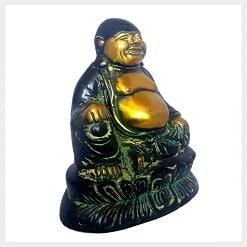 Lachender Buddha Messing gelbgrün 13,5cm Seitenansicht Vorschaubild