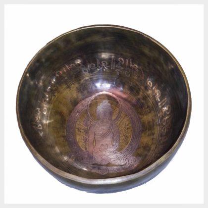 Klangschale Kopfschale Buddha Gravur