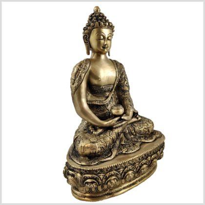 Erleuchtete Buddha Messing 33cm Seitenansicht