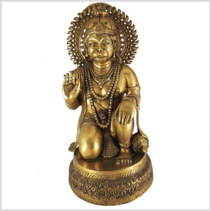 Hanuman sitzend Messing 51cm Vorderansicht
