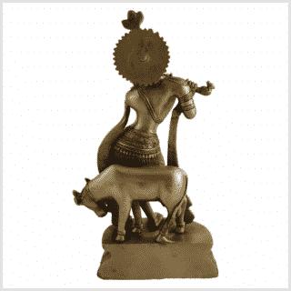 Krishna mit Nandi Messing Rücken