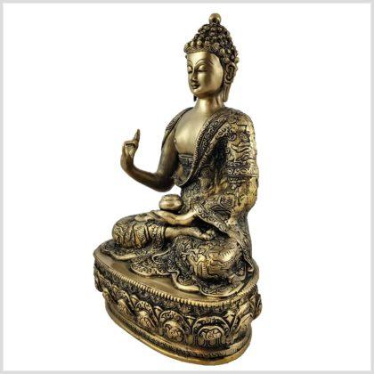 Lehrender Buddha 33cm Messing Seitenansicht Links