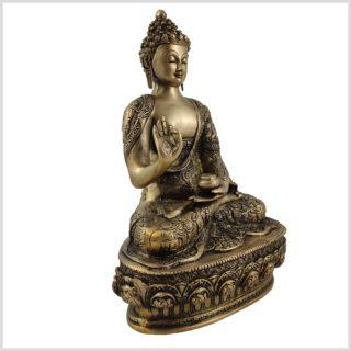 Lehrender Buddha 33cm Messing Seitenansicht Rechts