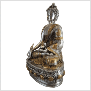 Medizinbuddha Life of Buddha 33cm Messing Silber Links