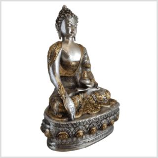 Medizinbuddha Life of Buddha 33cm Messing Silber Rechts