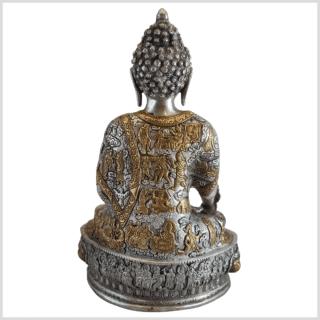 Medizinbuddha Life of Buddha 33cm Messing Silber hinten