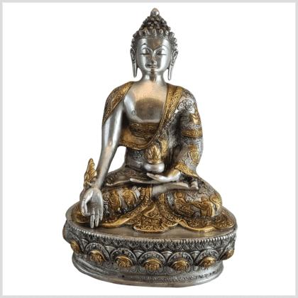 Medizinbuddha Life of Buddha 33cm Messing Silber Vorderseite