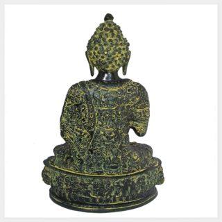 Lehrender Buddha 33cm Messing gelbgrün Rückansicht
