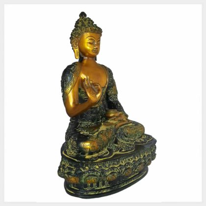 Lehrender Buddha 33cm Messing gelbgrün Seitenansicht