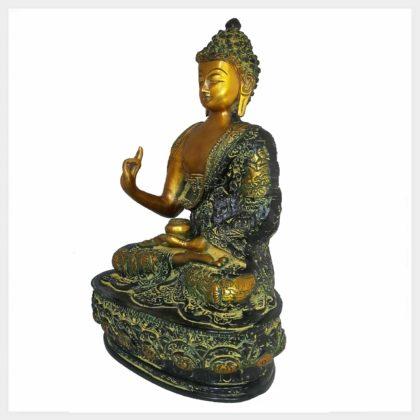 Lehrender Buddha 33cm Messing gelbgrün Seitenansicht links