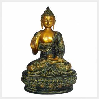 Lehrender Buddha 33cm Messing gelbgrün Vorderansicht