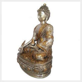 Medizinbuddha 33cm Messing Silber Seitenansicht links