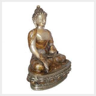 Medizinbuddha 33cm Messing Silber Seitenansicht rechts