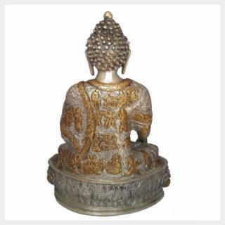 Medizinbuddha 33cm Messing Silber Rücken