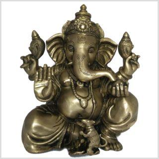 Großer Ganesha Messing 35,5cm 11kg Vorderansicht