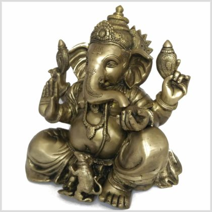 Großer Ganesha Messing 35,5cm 11kg Seitenansicht links