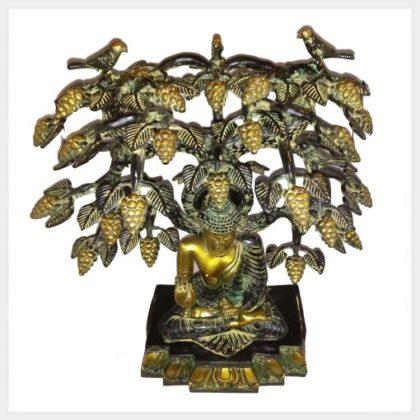 Lehrender Buddha Bodhibaum 9,7kg Messing gelbgrün Draufsicht