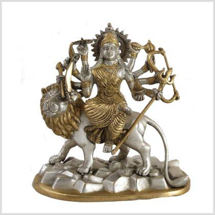 Durga auf Löwe Silbergold Frontansicht