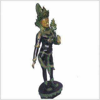 Grüne Tara stehend Messing grünantik Seitenansicht