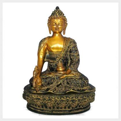 Medizinbuddha 33cm Messing gelbgrün Vorderansicht