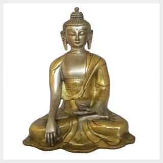 Erdender Buddha 1,1kg Messing Silber Vorderansicht