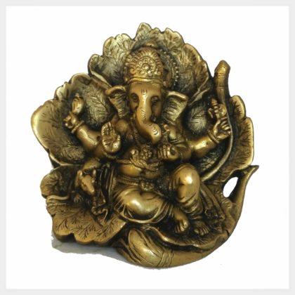 Lotus Ganesha im Blatt mit Ratte Vorderansicht