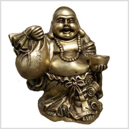 Lachender Buddha 6kg Messing Vorderansicht