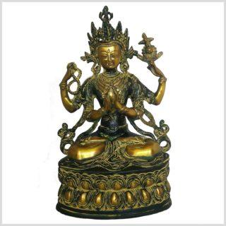 Avalokiteshvara Messing grünantik 3,6kg Vorderansicht