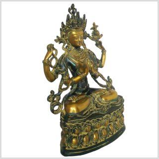 Avalokiteshvara Messing grünantik 3,6kg Seitenansicht rechts