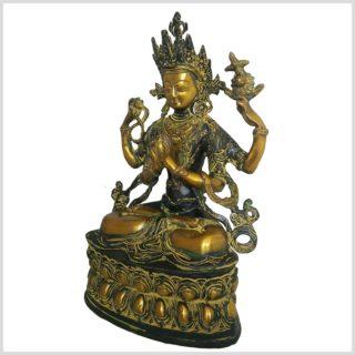 Avalokiteshvara Messing grünantik 3,6kg Seitenansicht