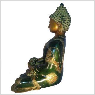 Erleuchteter Buddha 6kg Asthamangala gelbgrün Seitenansicht