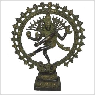 Tanzender Shiva Natraj Grün Antik aus Messing mit 29cm Höhe und 2.2 Kilogramm