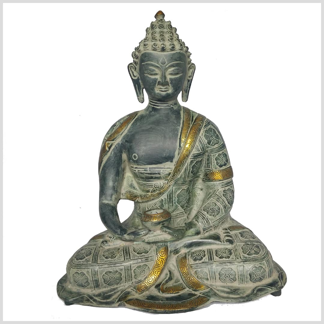 Erleuchteter Buddha 38 Cm Ca 6 Kg Messing Figur Nepal