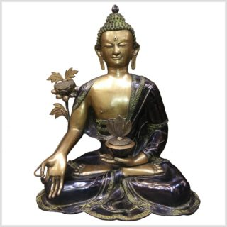 Medizinbuddha 55cm 25kg Messing grünantik Vorderansicht